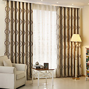Dos Paneles Moderna Rayas Café Sala de niños Poliéster Blackout cortinas cortinas