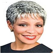 ファッションショートカーリー女性の合成かつらの毛灰色のかつら