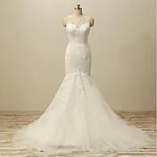 Vestido de boda de Tulle del tren de la corte del cuello de la joya de la sirena / de la trompeta con el botón rebordeado por drrs