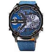 Oulm 男性 スポーツウォッチ 軍用腕時計 2タイムゾーン クォーツ レザー バンド クール ラグジュアリー ブルー
