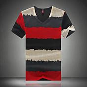 Pánské Proužky Denní nošení / Pracovní / Sportovní / Větší velikosti Krátký rukáv Polyester Triko-Modrá / Zelená / Červená