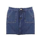 婦人向け ストリートファッション 膝上 スカート,コットン 伸縮性なし