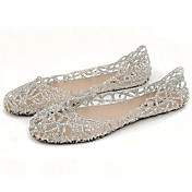 Ženske cipele-Ravne cipele-Ured i karijera / Ležerne prilike-PVC-Ravna potpetica-Udobne cipele / Zaobljene cipele-Crna / Ružičasta /