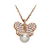 Mujer Pareja Collares con colgantes Collar con perlas Cristal Perla Cristal Perla Artificial Zirconia Cúbica Legierung Moda AdorablePlata