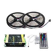 2×5メートル150x5050 SMD RGB LEDストリップライトと44keyリモートコントローラおよび5a電源(ac110-240v)