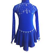 アイススケートウェア 女性用 長袖 スケーティング ドレス フィギュアスケートのドレス エラステイン ロイヤルブルー スケートウェア アウトドアウェア クラシック スポーツ