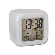 7色が立方デジタル目覚まし時計カレンダー温度計(白、4xaaa)を輝く主導しました