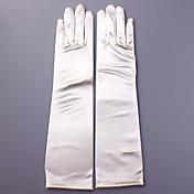 肘丈 指先 グローブ サテン ブライダル手袋 パーティー/イブニング手袋 春 秋 冬 アップリケ