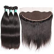 Trama del pelo con cierre Cabello Brasileño Recto 4 Piezas los tejidos de pelo