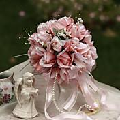 ウェディングブーケ ラウンド型 バラ ブーケ 結婚式 パーティー ・夜 シルク 6.3inch(約16cm)