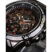 WINNER 男性 スケルトン腕時計 リストウォッチ 機械式時計 耐水 透かし加工 速度計 光る 自動巻き ステンレス バンド ビンテージ クール ラグジュアリー ブラック