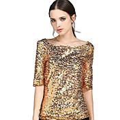 レディース お出かけ プラスサイズ 夏 Tシャツ,シンプル ストリートファッション ラウンドネック ソリッド ポリエステル ミディアム