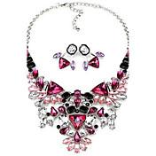 Juego de Joyas Collar / pendientes Estilo Simple Moda Joyería de Lujo Europeo Gema Acrílico Legierung Morado Rojo Collares Pendientes Para