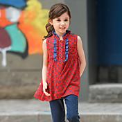 Camisa Chica de-Casual/Diario-Estampado-Poliéster-Verano-Rojo