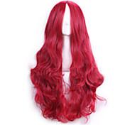 女性の女性70センチ原宿アニメのコスプレウィッグロングフルカーリーセクシーな人工毛赤ウィッグ