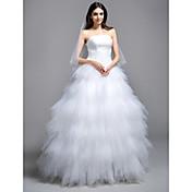 Lanting Bride® Ball Gown Petite / Plus Sizes Wedding Dress - Classic & Timeless / Glamorous & Dramatic Sweep / Brush Train Strapless Tulle