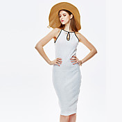 セクシーなシースドレスを外出女性のheartsoul、固体オフショルダー膝丈ノースリーブホワイト夏