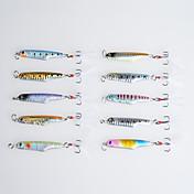 """10 個 ハードベイト メタルベイト ジグ ルアー メタルベイト ハードベイト ジグ ブラック グリーン ピンク イエロー パープル ブルー グラム/オンス,57mm mm/2-1/4"""" インチ,リード 海釣り 川釣り ルアー釣り"""