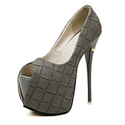 Mujer Zapatos Semicuero Verano Tacón Stiletto Plataforma Para Vestido Fiesta y Noche Negro Gris