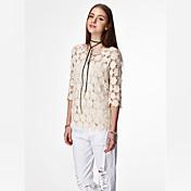 heartsoul女性のカジュアル/毎日シンプル/キュートな夏のブラウス、ソリッドラウンドネック¾薄い袖白/黄色の綿