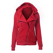 Mujer La chaqueta con capucha Casual/Diario Sencillo Un Color Microelástico Poliéster Manga Larga Primavera