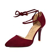Mujer-Tacón Stiletto-Tacones / PuntiagudosBoda / Vestido-Vellón / Purpurina-Negro / Rojo / Camello