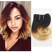 """El pelo humano 4 de la onda del cuerpo de la extensión del pelo del ombre """"el pelo 4pieces / lot # 1b / 27 teje"""