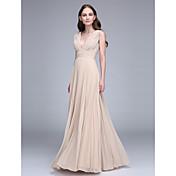 Funda / Columna Cuello en V Hasta el Suelo Raso Vestido de Dama de Honor con Recogido Fruncido por LAN TING BRIDE®