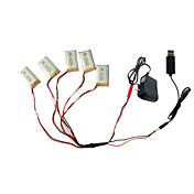 5pcs de la batería 650mAh 3.7v con 1 a 5 adaptador USB cable de carga partes de Syma X5c x5 x5sc rc quadcopter