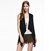 las mujeres heartsoul de salir chaquetas simples verano, sólida ronda de mangas de cuello negro / marrón de algodón / poliéster / spandex delgada