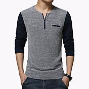 男性用 パッチワーク カジュアル / オフィス / プラスサイズ Tシャツ,長袖 コットン / ポリエステル,ブルー / ホワイト