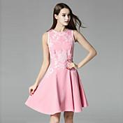 klimeda女性のカジュアル/毎日かわいいラインのドレス、膝ノースリーブポリエステル夏の上にラウンドネック刺繍