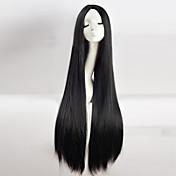 長いストレート髪のかつら100センチメートル長いウィッグかつらブラックCOS