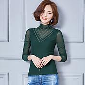 記号2017春韓国女性大型スリムレースメッシュシャツは薄い野生のボトミングシャツだった
