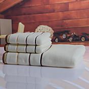 バスタオルセット ブラウン ホワイト,染糸 高品質 コットン100% タオル