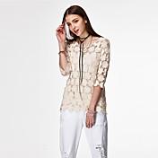 ハートSoul® 女性 ラウンドネック 1/2の長さのスリーブ Tシャツ アイボリー / 白-PRE-11414