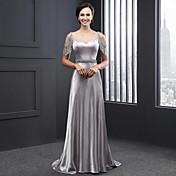 シース/コラムスクープネックスイープ/ブラシトレインcharmeuseフォーマルイブニングドレス