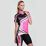 Mysenlan ショーツ付きサイクリングジャージー 女性用 半袖 バイク 洋服セット 速乾性 抗紫外線 透湿性 高通気性 (>15,001g) 高通気性 ポリエステル エラステイン 縞柄 夏 レジャースポーツ サイクリング/バイク ピーチ