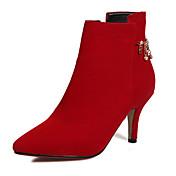 女性-オフィス ドレスシューズ パーティー-フリース-スティレットヒール-ファッションブーツ-ブーツ-ブラック レッド