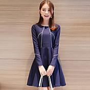 婦人向け シンプル カジュアル/普段着 シース ドレス,ストライプ ラウンドネック 膝上 長袖 ブルー コットン 秋