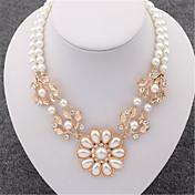 Dámské Obojkové náhrdelníky Perly Štras Postříbřené Pozlacené imitace Diamond Slitina Módní Zlatá Šperky Svatební Párty Denní Ležérní 1ks