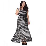 Mujer Encaje Vestido Tallas Grandes Vintage,A Lunares Escote Redondo Maxi Sin Mangas Poliéster Verano Tiro Alto Microelástico Medio