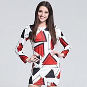 Mujer Corte Bodycon Vaina Camiseta Vestido Fiesta/Cóctel Discoteca Tallas Grandes Sexy Simple Bonito,Geométrico Escote RedondoSobre la