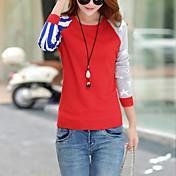 Mujer Regular Pullover Noche Casual/Diario Chic de Calle,Bloques Azul Rojo Gris Escote Redondo Manga Larga Algodón Primavera Otoño Medio