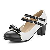 Mujer Zapatos Cuero Patentado Primavera Verano Otoño Invierno Mary Jane Tacones Tacón Robusto Pajarita Hebilla Para Casual Vestido Negro
