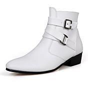 Hombre-Tacón Plano-Confort-Botas-Informal-PU-Negro Marrón Blanco