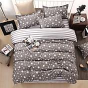 bedtoppings edredón nórdico cubierta 4pcs edredón conjunto de matrimonio hoja plana funda de almohada estrellas grises imprime microfibra