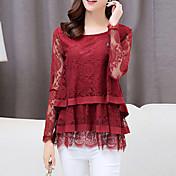 Mulheres Camiseta Casual Simples Outono,Sólido Vermelho / Preto Náilon Decote Redondo Manga Longa Média