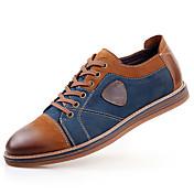 Hombre Zapatos Cuero Primavera Verano Otoño Invierno Confort Oxfords Con Cordón Para Casual Gris Marrón
