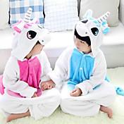 Kigurumi Pyjamas Unicorn Trikot/Heldragtskostumer Festival/Højtider Nattøj Med Dyr Halloween Lyserød Blå Patchwork Kigurumi Til Barn
